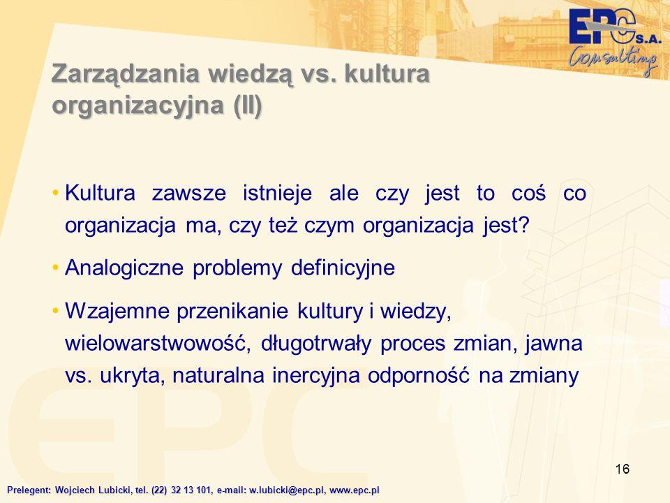 Zarządzania wiedzą vs. kultura organizacyjna (II)