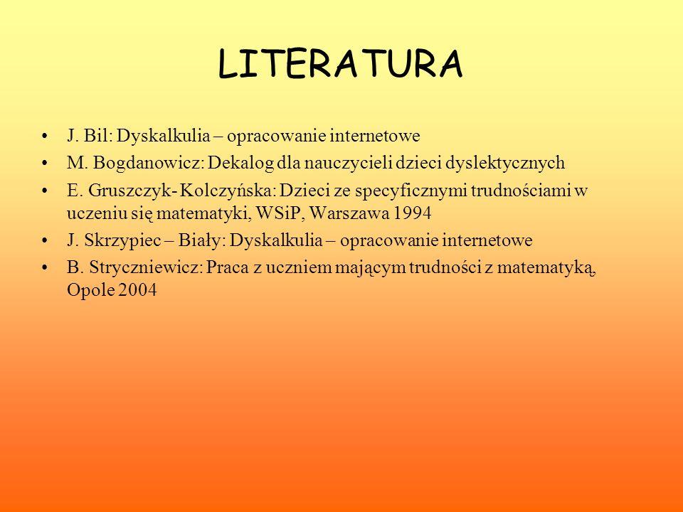 LITERATURA J. Bil: Dyskalkulia – opracowanie internetowe