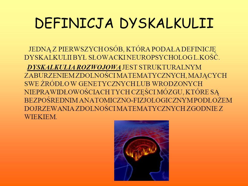 DEFINICJA DYSKALKULII