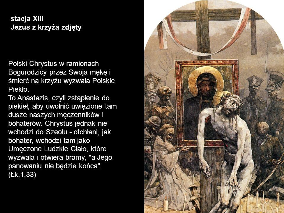 stacja XIII Jezus z krzyża zdjęty.
