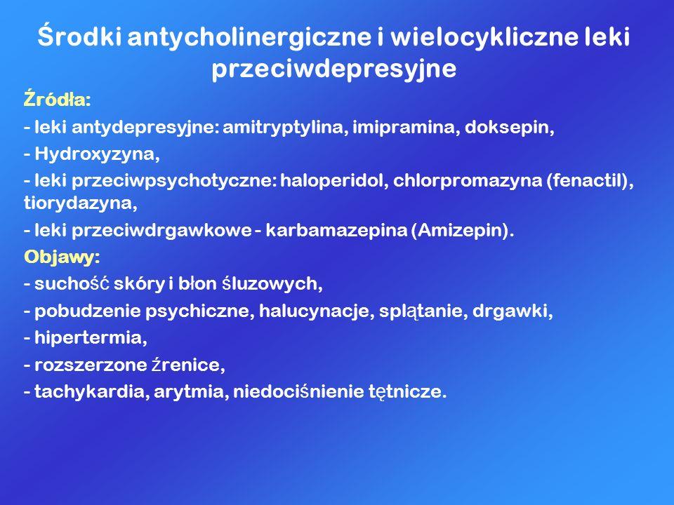 Środki antycholinergiczne i wielocykliczne leki przeciwdepresyjne