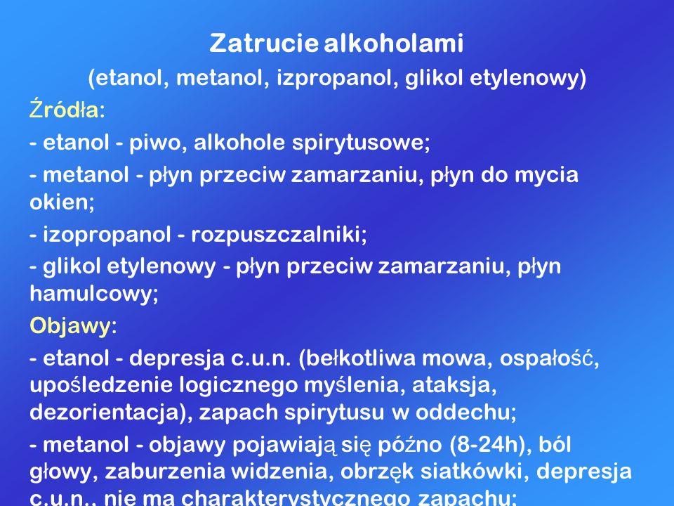 (etanol, metanol, izpropanol, glikol etylenowy)