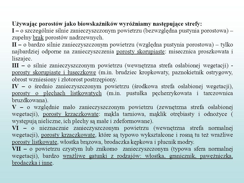 Używając porostów jako biowskaźników wyróżniamy następujące strefy: