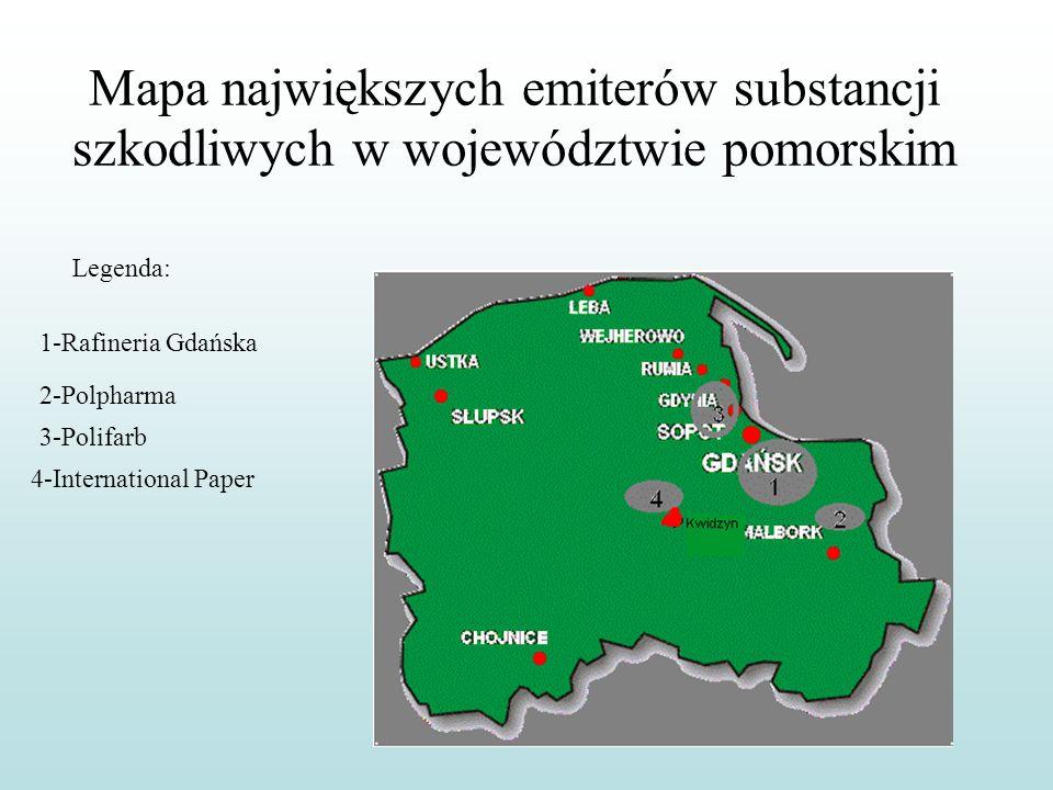 Mapa największych emiterów substancji szkodliwych w województwie pomorskim