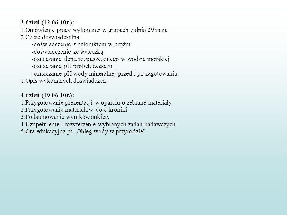 3 dzień (12.06.10r.): Omówienie pracy wykonanej w grupach z dnia 29 maja. Część doświadczalna: -doświadczenie z balonikiem w próżni.