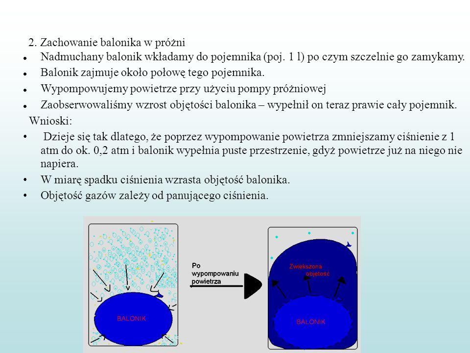 2. Zachowanie balonika w próżni