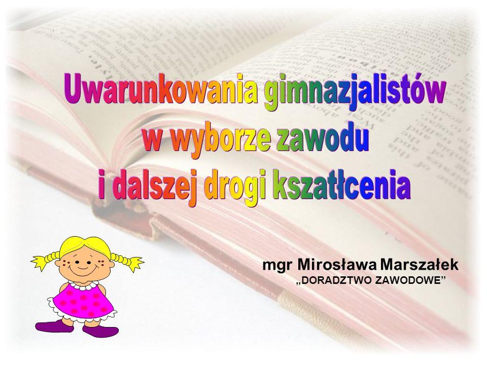 """mgr Mirosława Marszałek """"DORADZTWO ZAWODOWE"""
