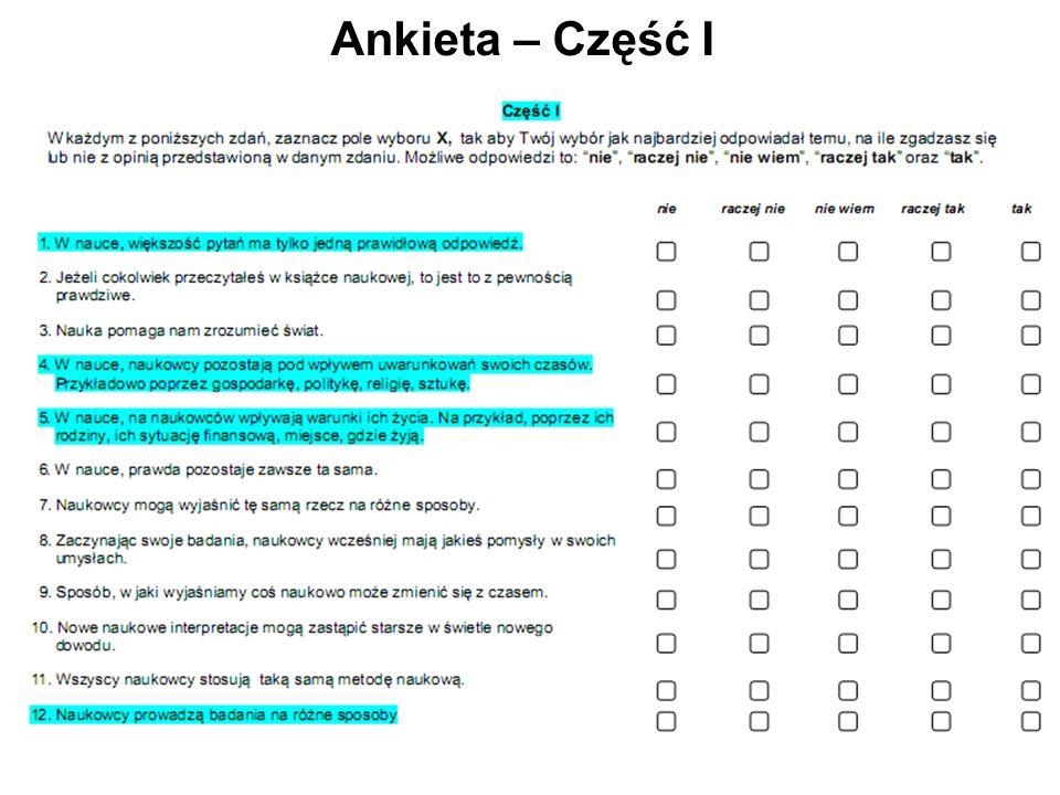 Ankieta – Część I
