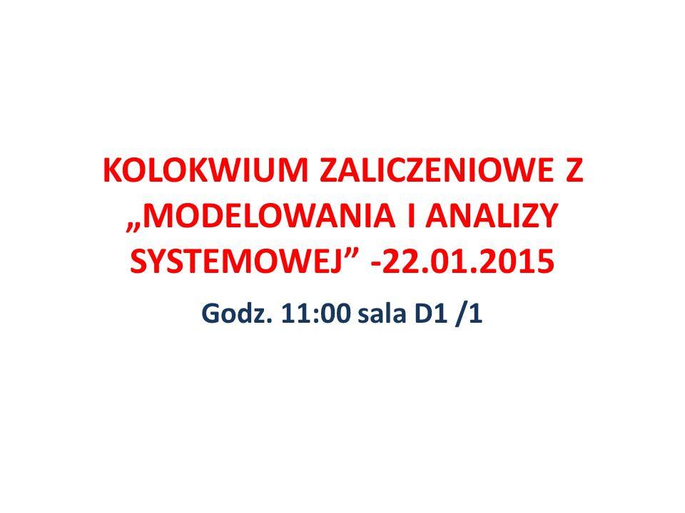 """KOLOKWIUM ZALICZENIOWE Z """"MODELOWANIA I ANALIZY SYSTEMOWEJ -22. 01"""