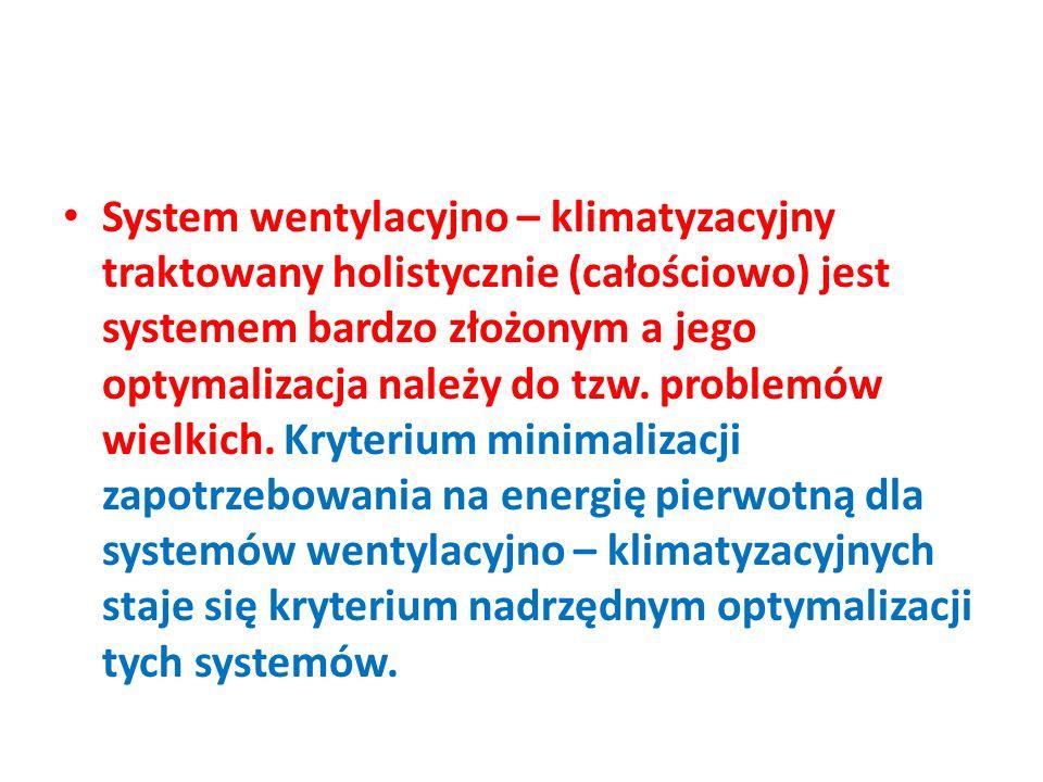 System wentylacyjno – klimatyzacyjny traktowany holistycznie (całościowo) jest systemem bardzo złożonym a jego optymalizacja należy do tzw.