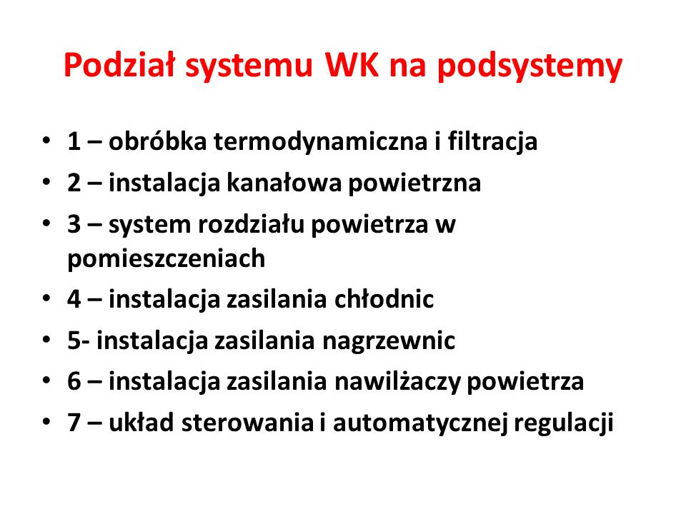 Podział systemu WK na podsystemy