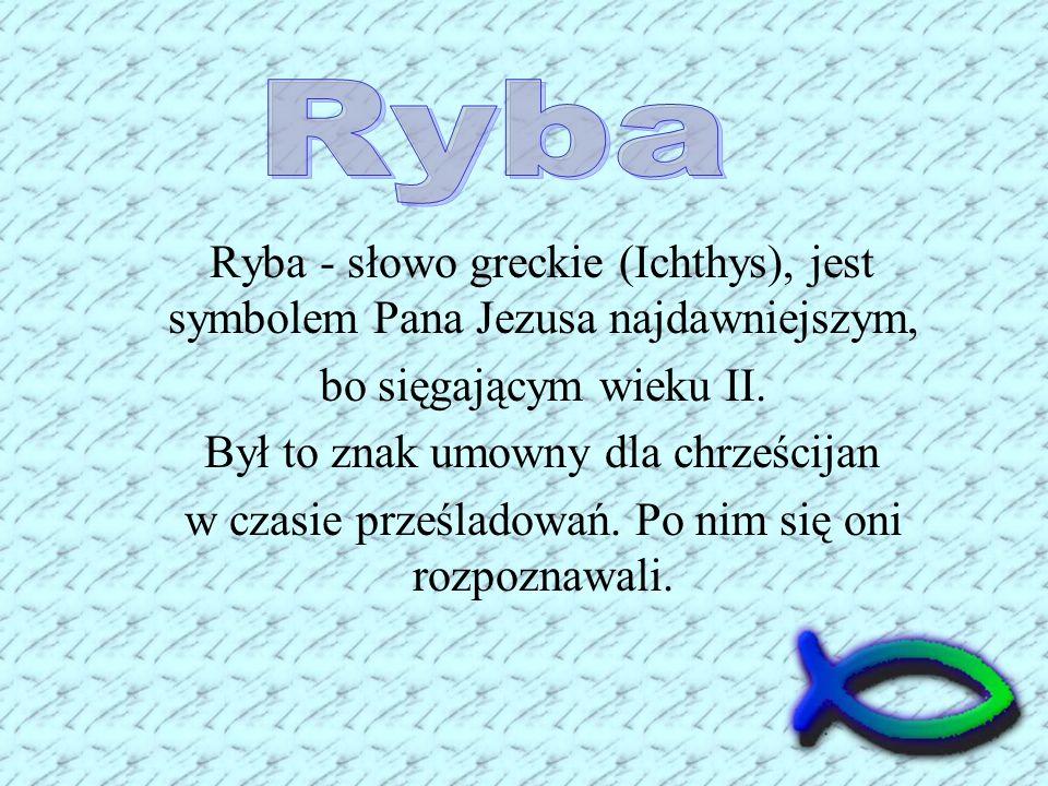 Ryba Ryba - słowo greckie (Ichthys), jest symbolem Pana Jezusa najdawniejszym, bo sięgającym wieku II.