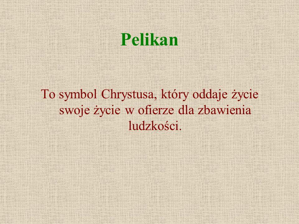 Pelikan To symbol Chrystusa, który oddaje życie swoje życie w ofierze dla zbawienia ludzkości.