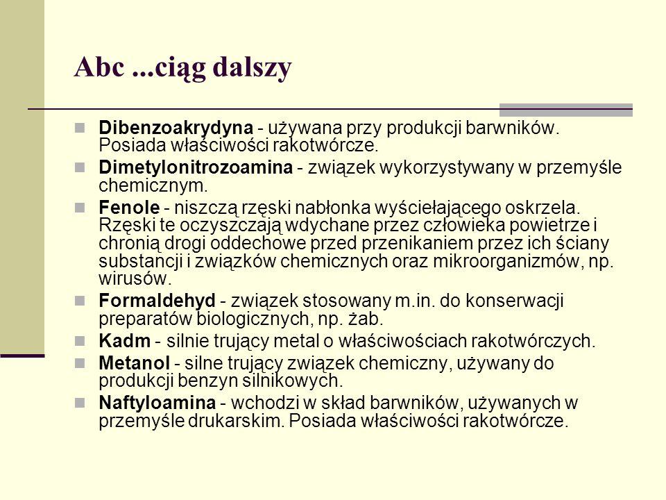 Abc ...ciąg dalszy Dibenzoakrydyna - używana przy produkcji barwników. Posiada właściwości rakotwórcze.