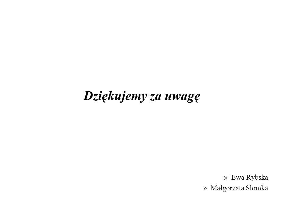 Dziękujemy za uwagę Ewa Rybska Małgorzata Słomka