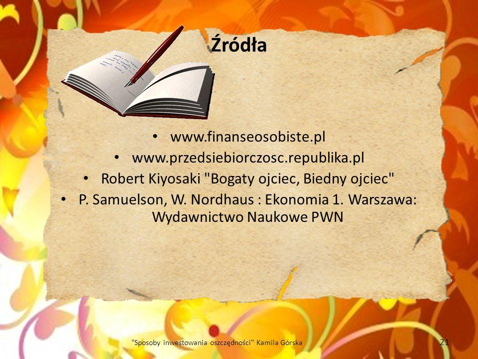 Źródła www.finanseosobiste.pl www.przedsiebiorczosc.republika.pl
