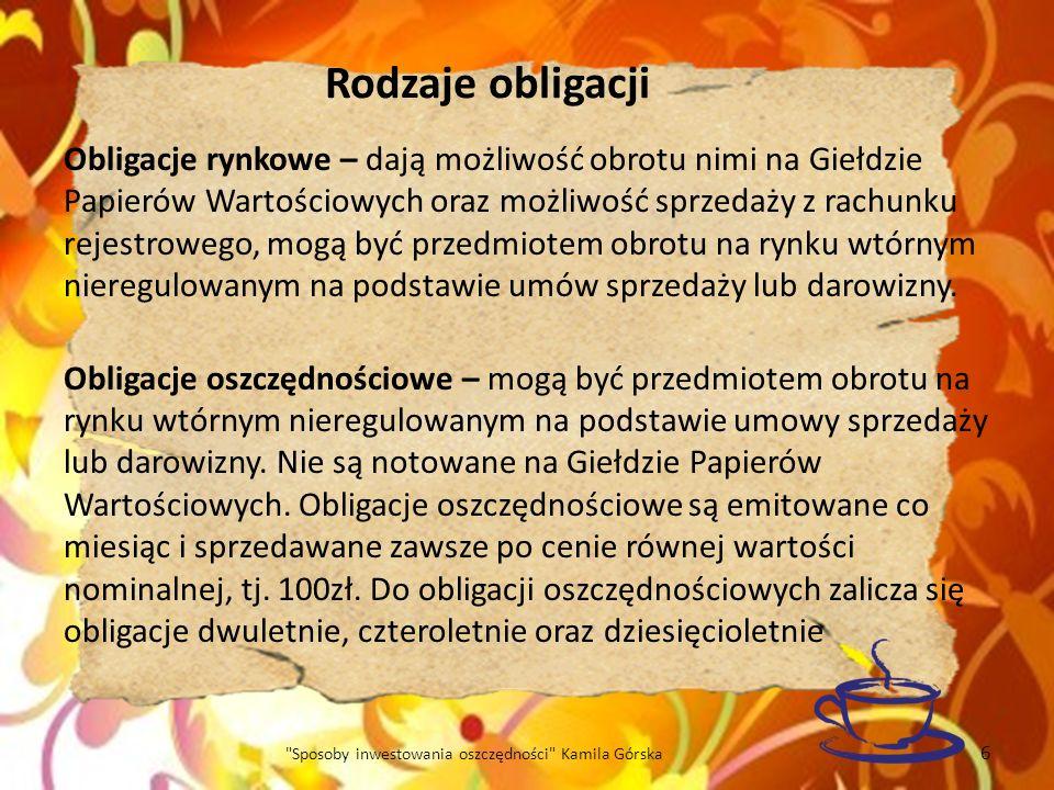 Sposoby inwestowania oszczędności Kamila Górska