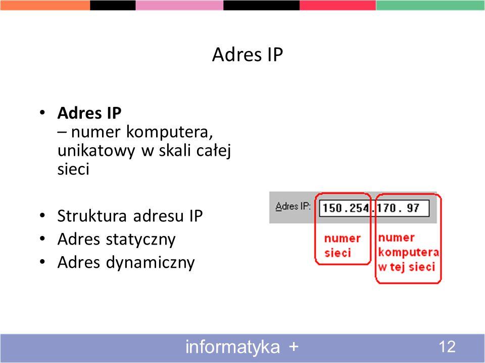 Adres IP Adres IP – numer komputera, unikatowy w skali całej sieci