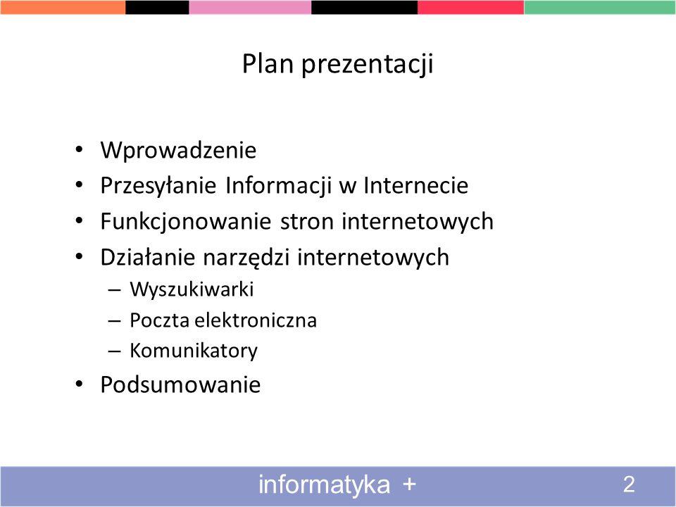 Plan prezentacji Wprowadzenie Przesyłanie Informacji w Internecie