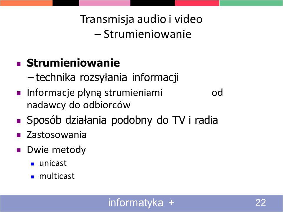 Transmisja audio i video – Strumieniowanie