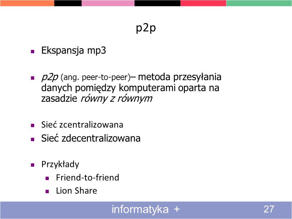 p2p informatyka + Ekspansja mp3