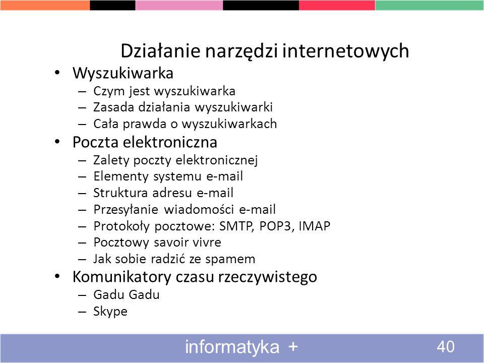 Działanie narzędzi internetowych