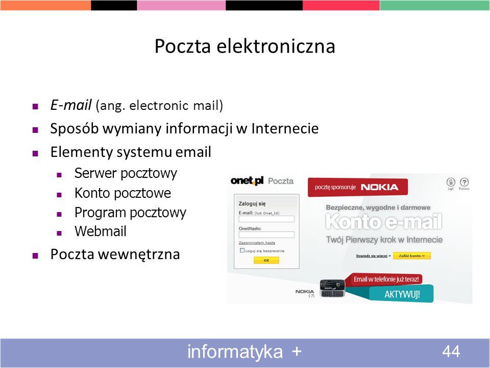 Poczta elektroniczna informatyka + E-mail (ang. electronic mail)