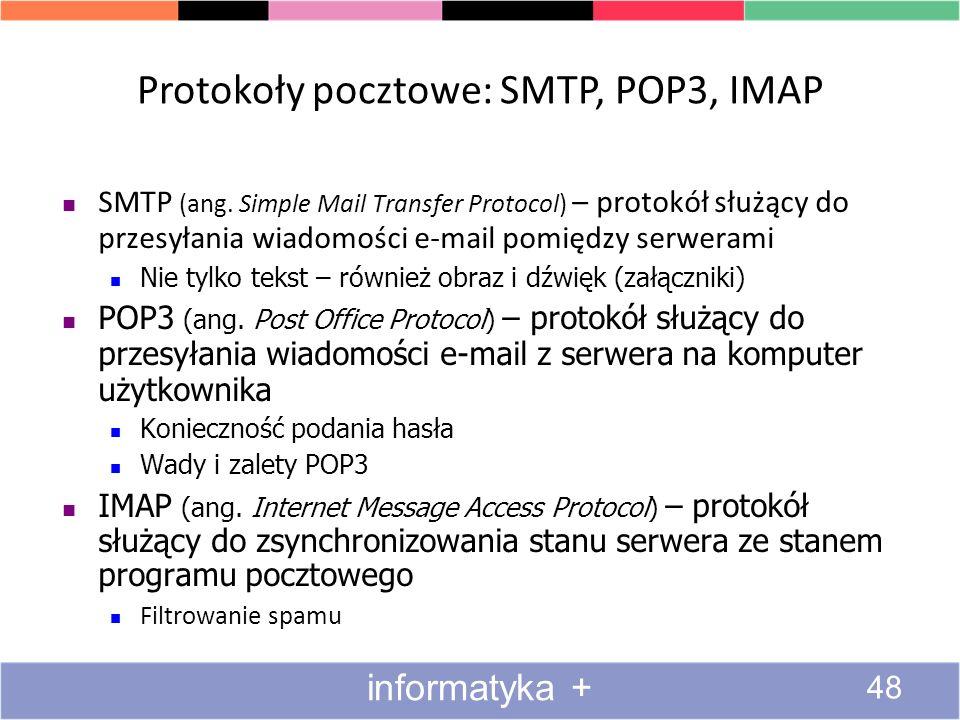 Protokoły pocztowe: SMTP, POP3, IMAP