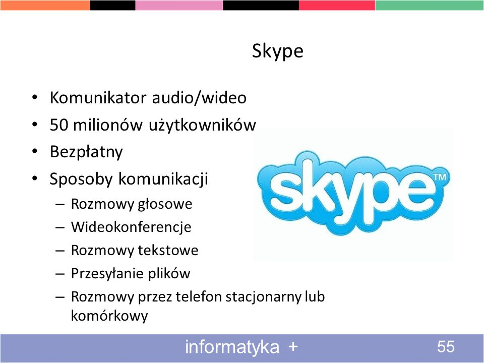 Skype Komunikator audio/wideo 50 milionów użytkowników Bezpłatny