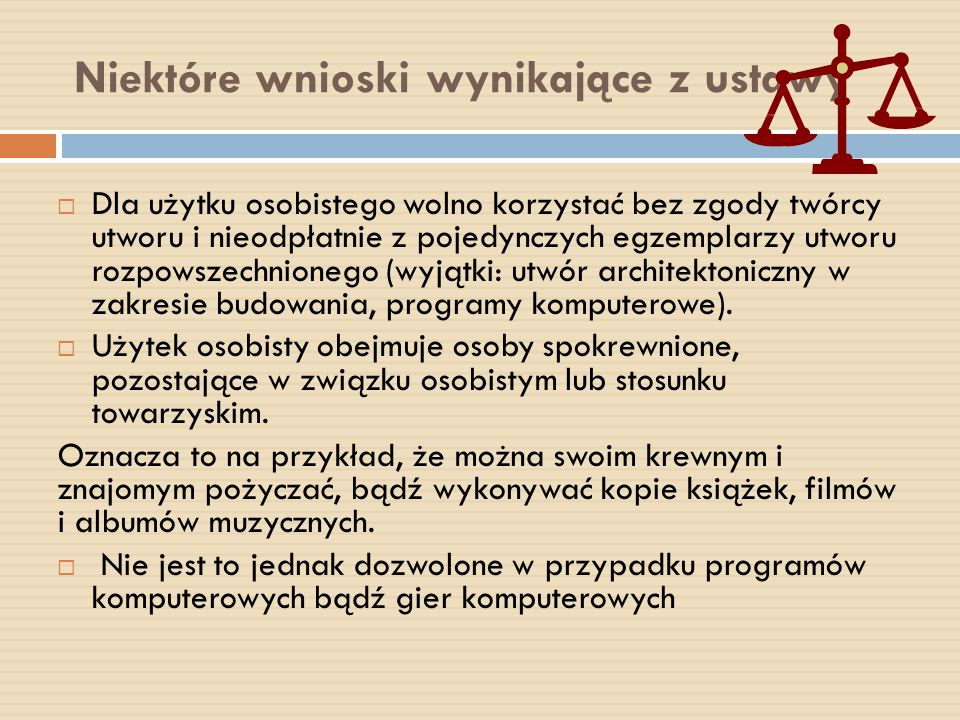 Niektóre wnioski wynikające z ustawy