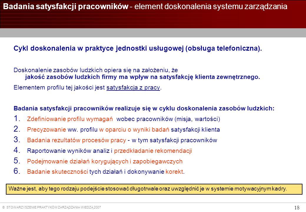Badania satysfakcji pracowników - element doskonalenia systemu zarządzania