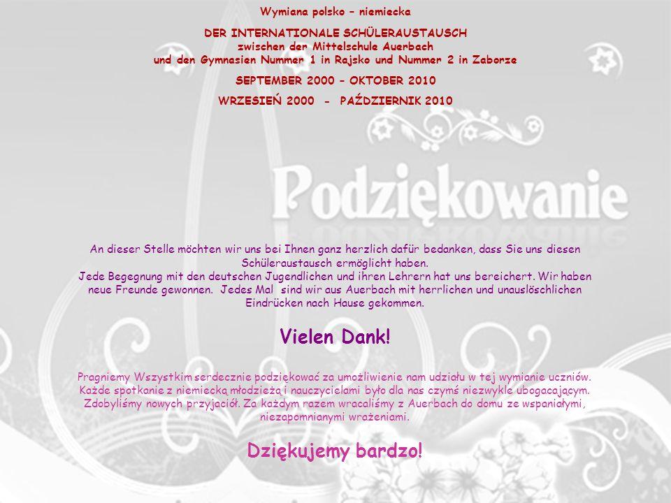 Vielen Dank! Dziękujemy bardzo! Wymiana polsko – niemiecka