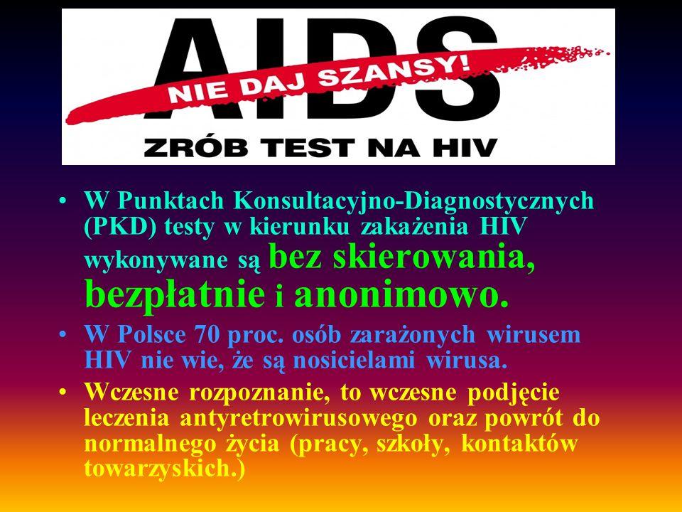 W Punktach Konsultacyjno-Diagnostycznych (PKD) testy w kierunku zakażenia HIV wykonywane są bez skierowania, bezpłatnie i anonimowo.