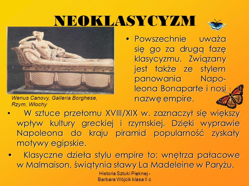 Historia Sztuki Pięknej - Barbara Wójcik klasa II c