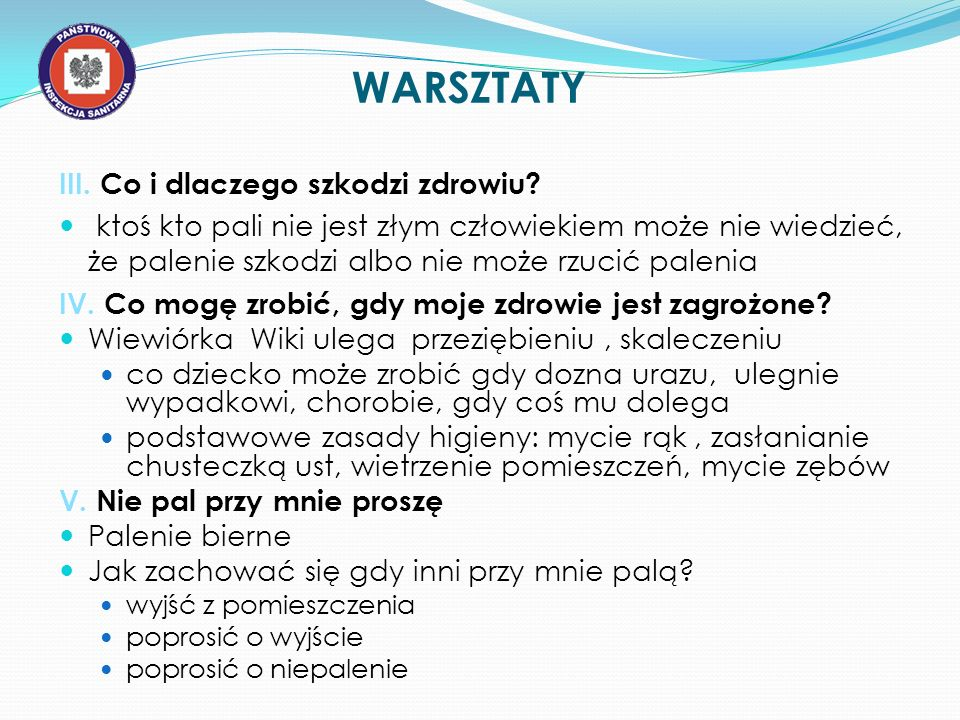WARSZTATY III. Co i dlaczego szkodzi zdrowiu