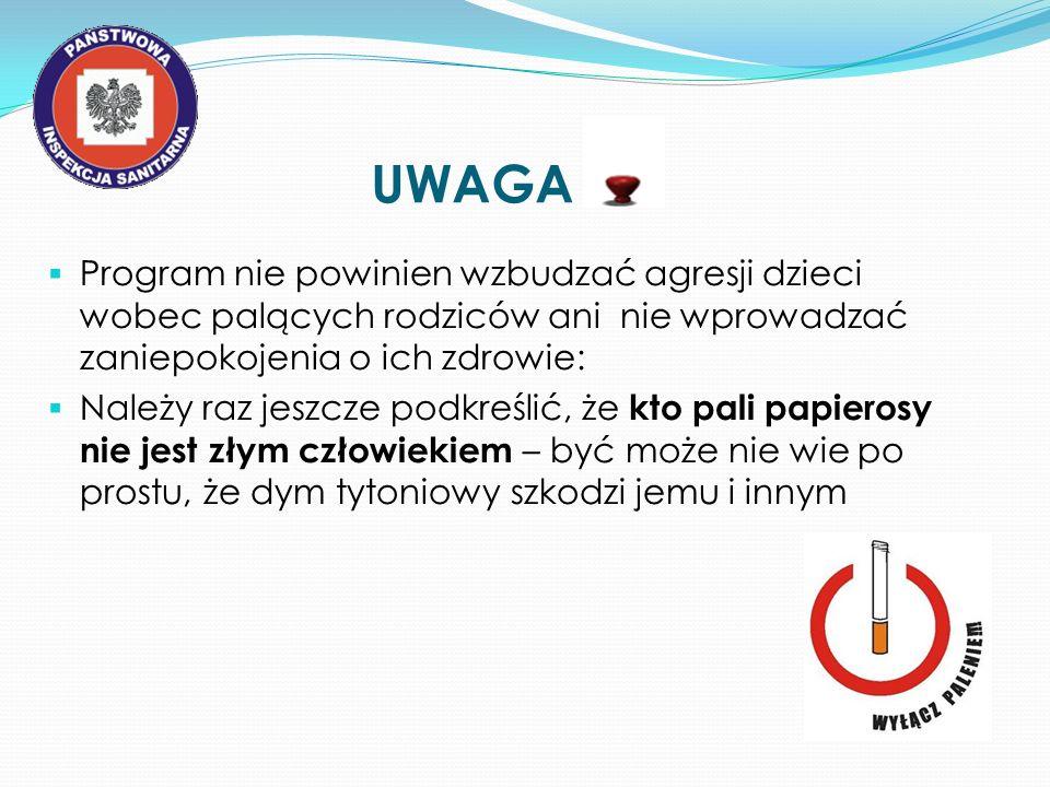 UWAGA Program nie powinien wzbudzać agresji dzieci wobec palących rodziców ani nie wprowadzać zaniepokojenia o ich zdrowie: