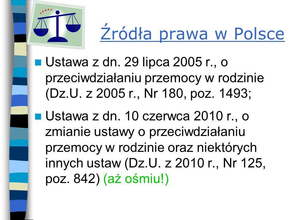 Źródła prawa w Polsce Ustawa z dn. 29 lipca 2005 r., o przeciwdziałaniu przemocy w rodzinie (Dz.U. z 2005 r., Nr 180, poz. 1493;