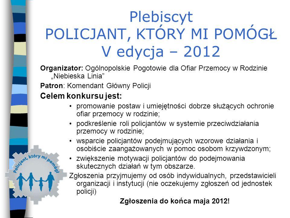 Plebiscyt POLICJANT, KTÓRY MI POMÓGŁ V edycja – 2012
