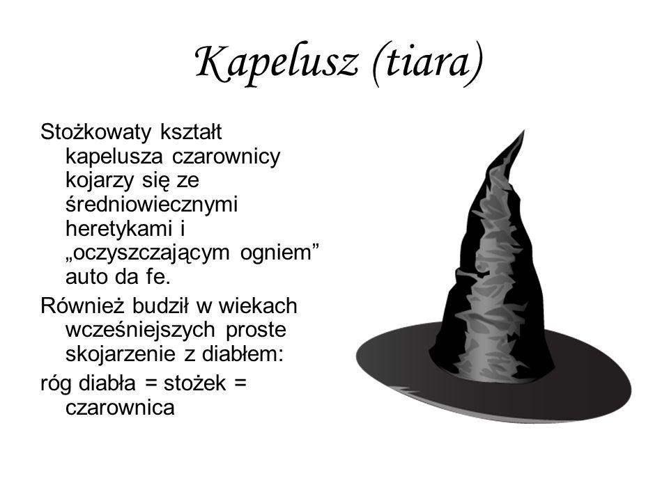 """Kapelusz (tiara) Stożkowaty kształt kapelusza czarownicy kojarzy się ze średniowiecznymi heretykami i """"oczyszczającym ogniem auto da fe."""