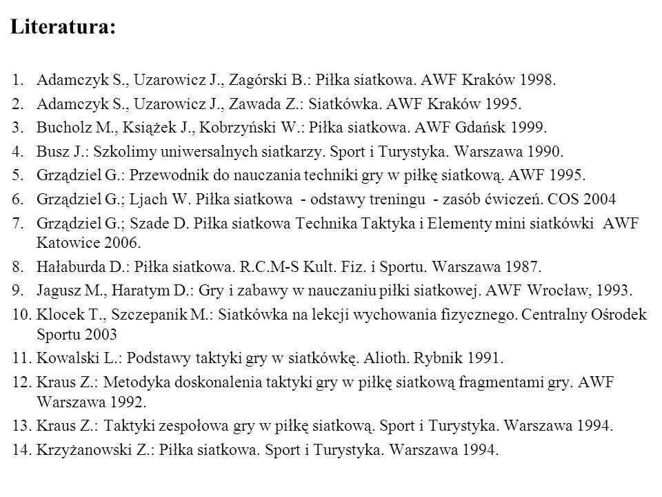 Literatura: Adamczyk S., Uzarowicz J., Zagórski B.: Piłka siatkowa. AWF Kraków 1998.