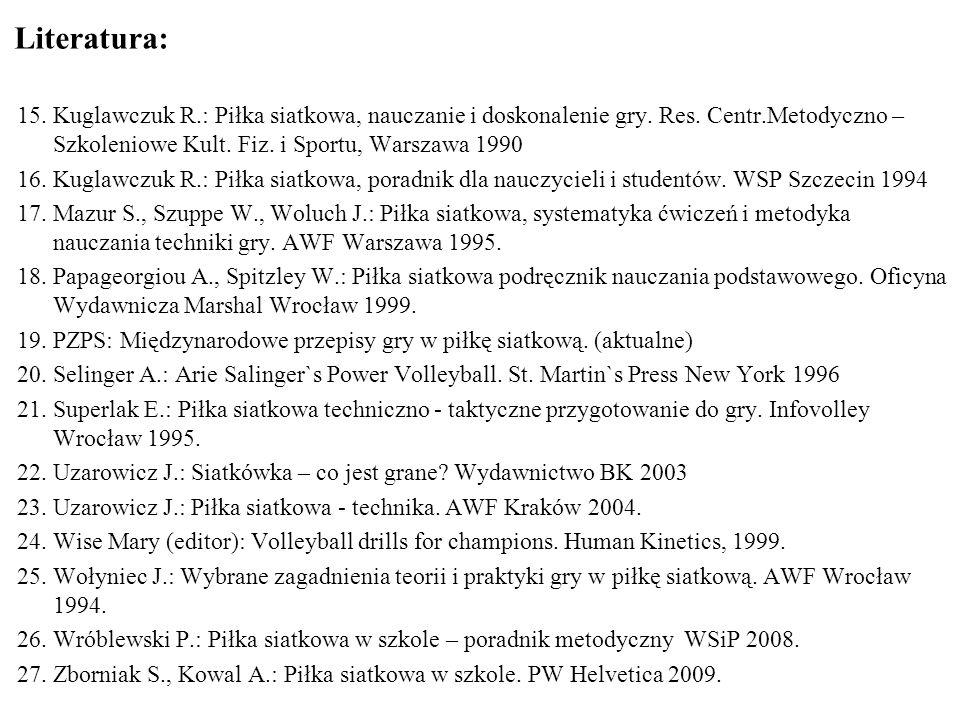 Literatura: Kuglawczuk R.: Piłka siatkowa, nauczanie i doskonalenie gry. Res. Centr.Metodyczno – Szkoleniowe Kult. Fiz. i Sportu, Warszawa 1990.