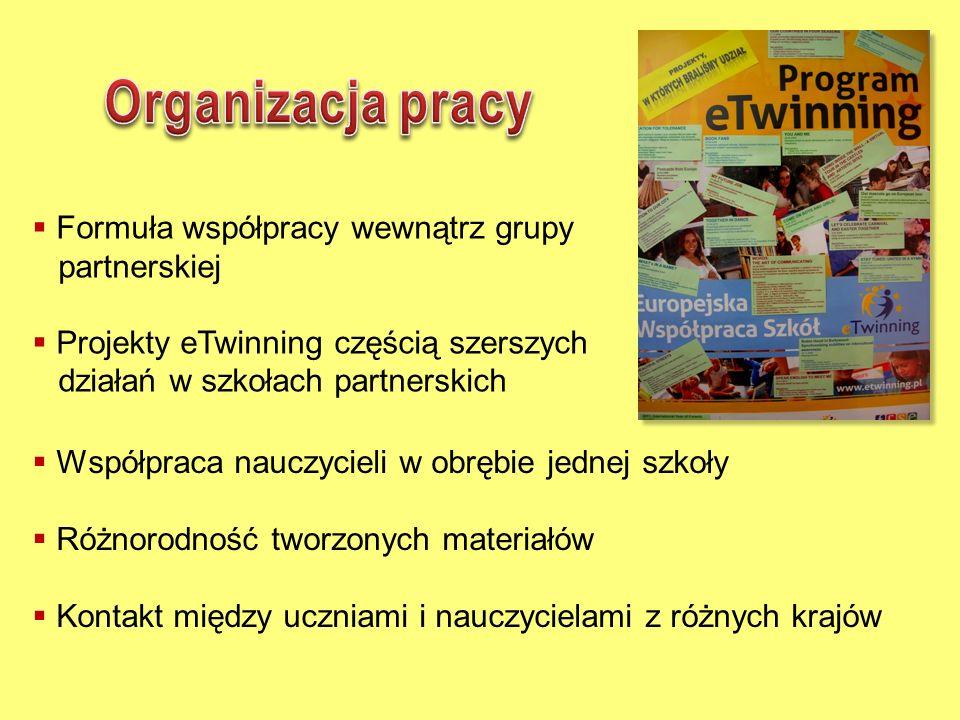 Organizacja pracy Formuła współpracy wewnątrz grupy partnerskiej