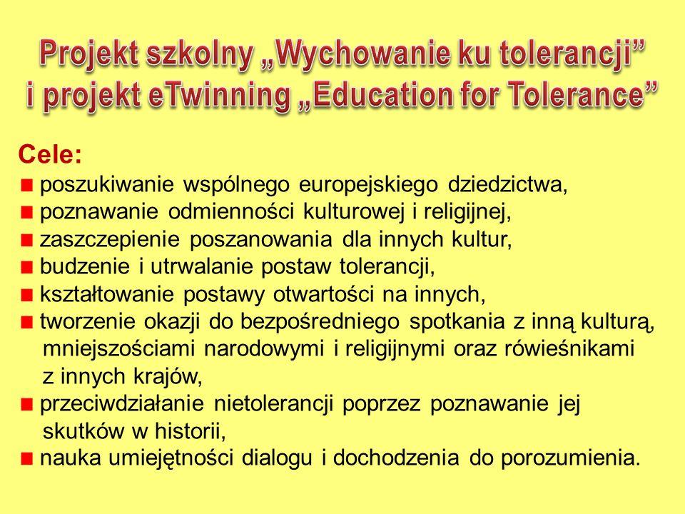 """Projekt szkolny """"Wychowanie ku tolerancji"""