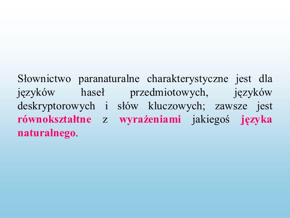 Słownictwo paranaturalne charakterystyczne jest dla języków haseł przedmiotowych, języków deskryptorowych i słów kluczowych; zawsze jest równokształtne z wyrażeniami jakiegoś języka naturalnego.
