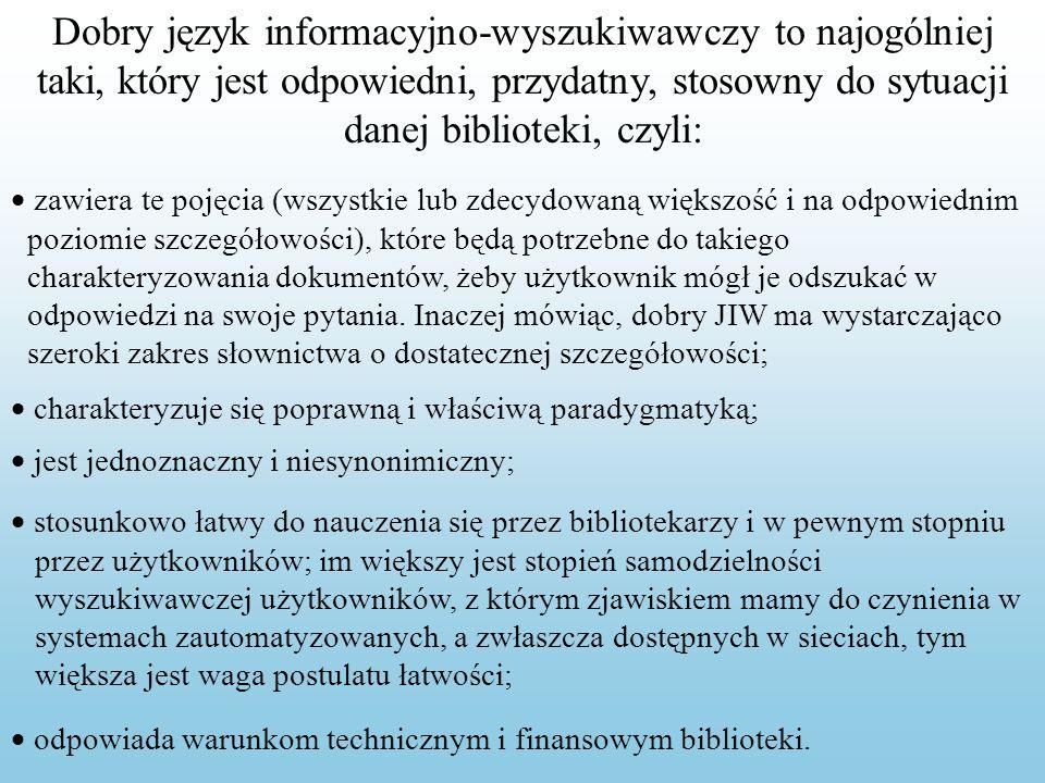 Dobry język informacyjno-wyszukiwawczy to najogólniej taki, który jest odpowiedni, przydatny, stosowny do sytuacji danej biblioteki, czyli: