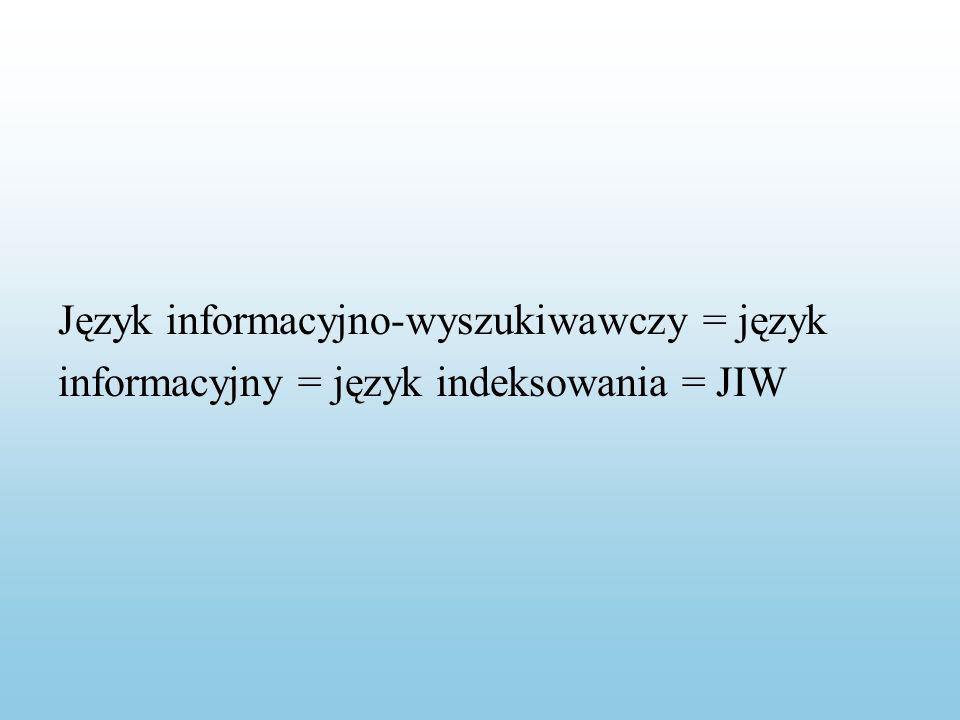 Język informacyjno-wyszukiwawczy = język