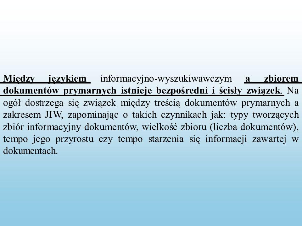 Między językiem informacyjno-wyszukiwawczym a zbiorem dokumentów prymarnych istnieje bezpośredni i ścisły związek.
