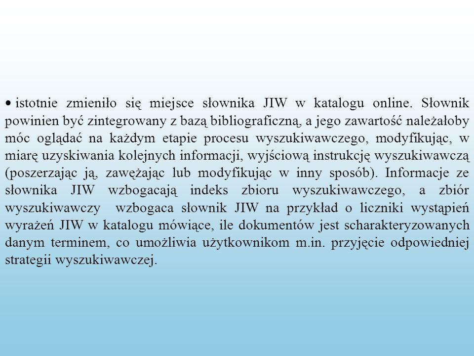 istotnie zmieniło się miejsce słownika JIW w katalogu online