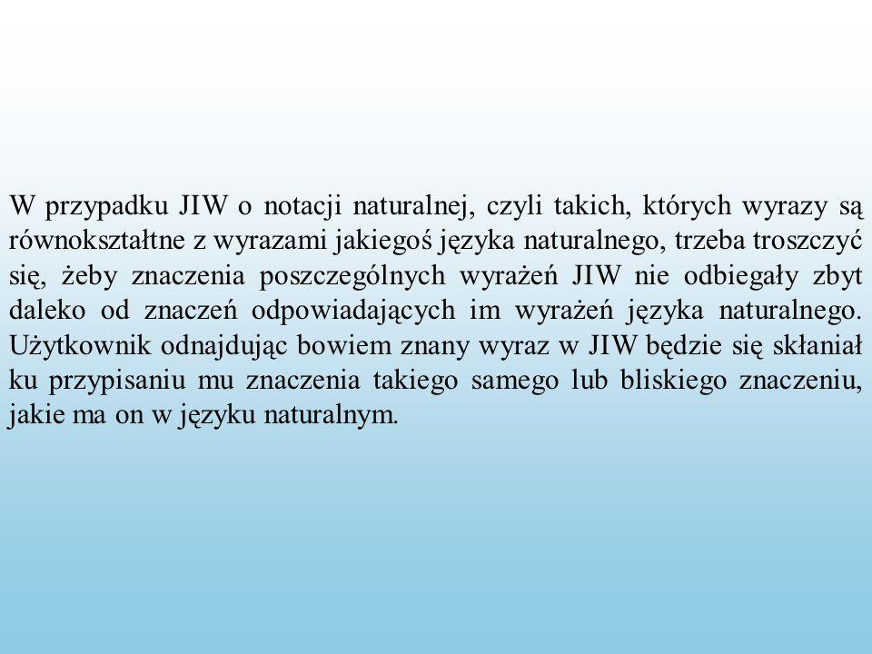 W przypadku JIW o notacji naturalnej, czyli takich, których wyrazy są równokształtne z wyrazami jakiegoś języka naturalnego, trzeba troszczyć się, żeby znaczenia poszczególnych wyrażeń JIW nie odbiegały zbyt daleko od znaczeń odpowiadających im wyrażeń języka naturalnego.
