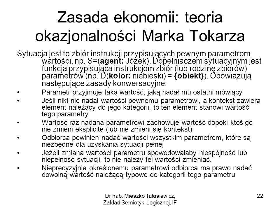 Zasada ekonomii: teoria okazjonalności Marka Tokarza